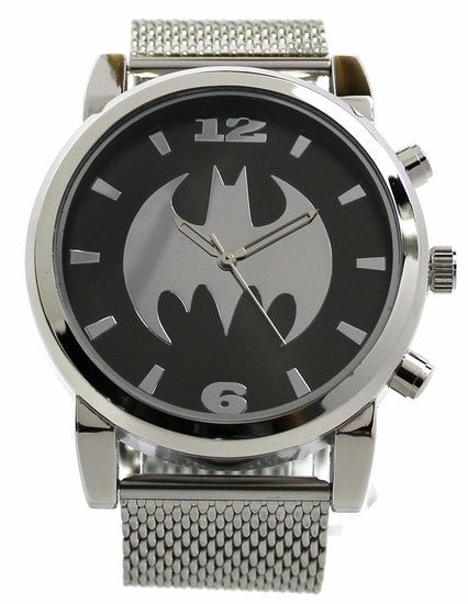 Batman Silvertone Mesh Strap Watch (BAT8043) - SuperheroWatches.com