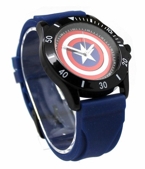 Captain America Blue Rubber Shield Watch (CTA1101) - SuperheroWatches.com