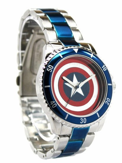 Captain America Shield Watch with Metal Bracelet Band (CTA2103) - SuperheroWatches.com