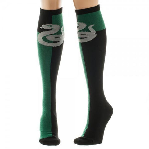 Harry Potter Slytherin Green/Black Juniors Knee High Socks - SuperheroWatches.com