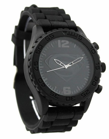 Man of Steel - Superman - Black on Black - Silicon Strap Watch (MOS9022) - SuperheroWatches.com