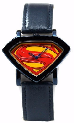 Man of Steel Superman Shield Watch - Blue - Leather Strap (MOS 5008) - SuperheroWatches.com