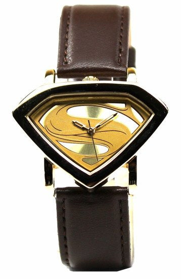 Man of Steel Superman Shield Watch - Gold - Leather Strap (MOS 5007)