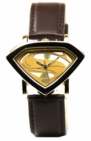 Man of Steel Superman Shield Watch - Gold - Leather Strap (MOS 5007) - SuperheroWatches.com
