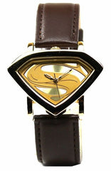 Man of Steel Superman Shield Watch - Gold - Leather Strap