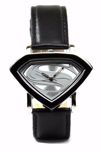 Man of Steel Superman Shield Watch - Silver - Leather Strap (MOS 5005) - SuperheroWatches.com