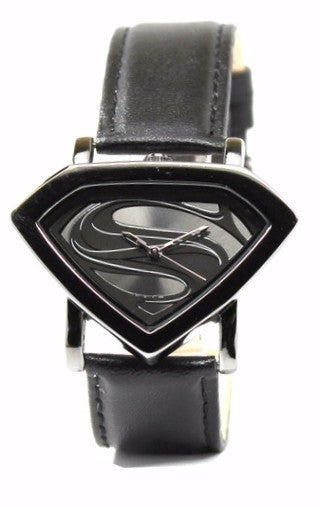 Man of Steel Superman Shield Watch - Stealth - Leather Strap (MOS 5006) - SuperheroWatches.com