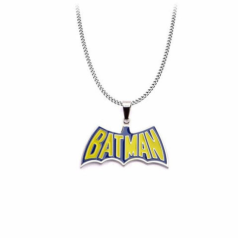 "Stainless Steel Blue and Yellow ""BATMAN"" Pendant with 24 inch Chain (BATMPNK03) - SuperheroWatches.com"