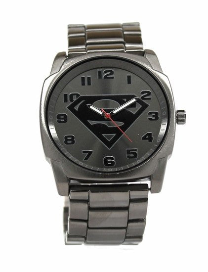 Superman Gray Logo Watch with Gun-Metal Bracelet Band (SUP8024) - SuperheroWatches.com