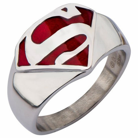 Superman Man of Steel Stainless Steel and Red Enamel Signet Ring (SUPMFR8412)