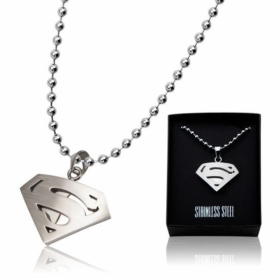 Superman Stainless Steel Diamond Shape Dog Tag Pendant with Ball Chain (SUPMSSP4748WM) - SuperheroWatches.com