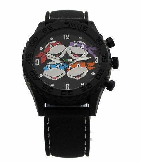 Teenage Mutant Ninja Turtles Heads Black Rubber Strap Watch (TMN9086) - SuperheroWatches.com