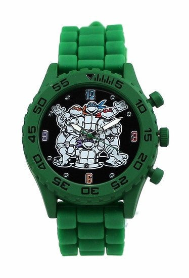 Teenage Mutant Ninja Turtles TMNT Group Shot Green Rubber Strap Watch (TMN9046) - SuperheroWatches.com