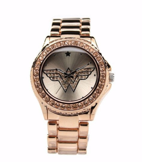 Wonder Woman Watch RoseGold with Light Peach Toned Stones (WOW 8008) - SuperheroWatches.com