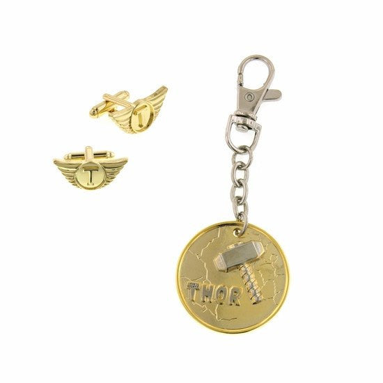 Thor Gold Cuff Link & Key Chain Box Set