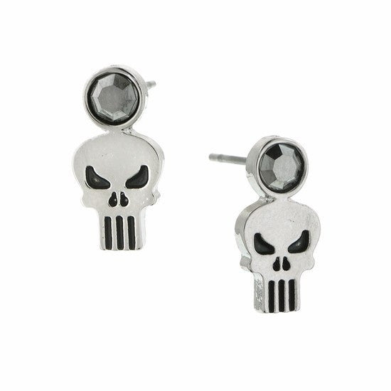 Punisher Silver-Tone Hematite Stud Earrings - SuperheroWatches.com