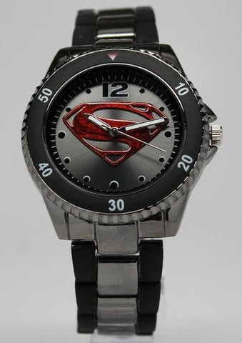 Superman Man of Steel Watch Gun Metal (MOS8006) - SuperheroWatches.com