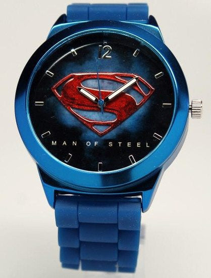 Superman Man of Steel Watch Blue Silicone Band (MOS9009) - SuperheroWatches.com
