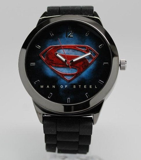 Superman Man of Steel Watch Black Silicone Band (MOS9008)