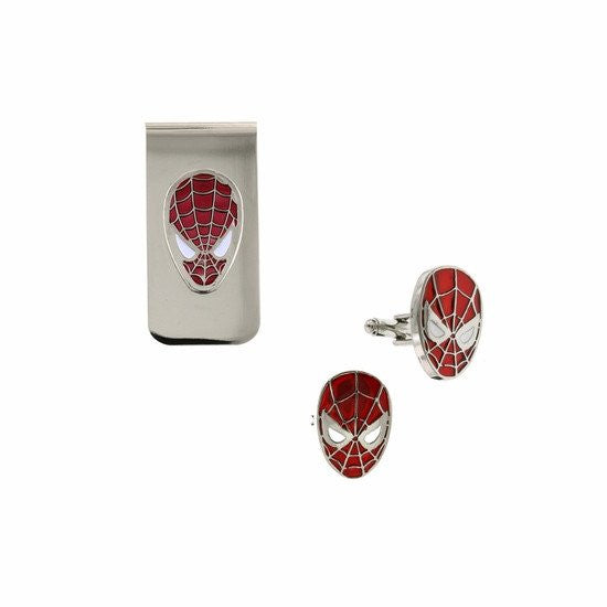 Spiderman Mask Cuff Link & Money Clip Box Set - SuperheroWatches.com