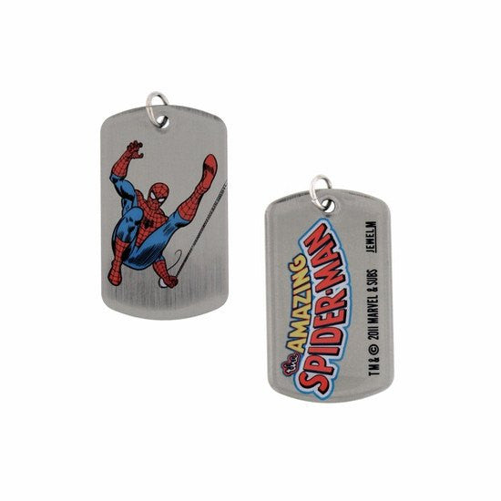 Swinging Kick Spider-Man Double Sided Dog Tag Necklace - SuperheroWatches.com