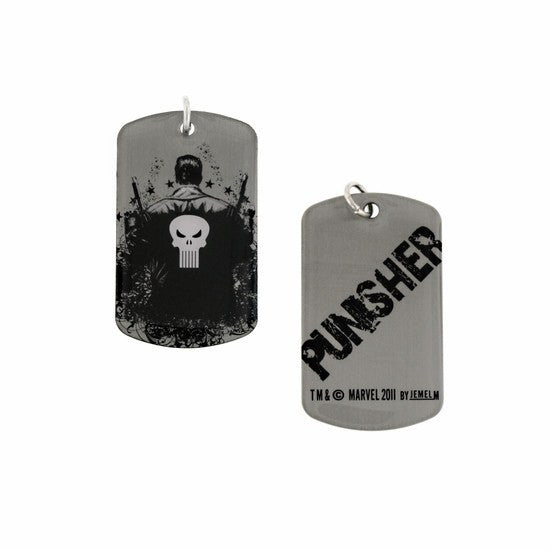 Punisher Dog Tag Silver and Black Necklace - SuperheroWatches.com