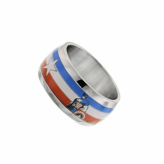 Captain America Stainless Ring Size 8 - SuperheroWatches.com