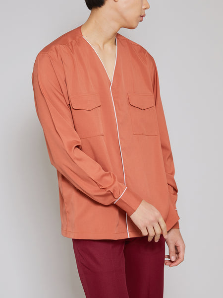 'Full-on' Firebrick Long-Sleeve Shirt