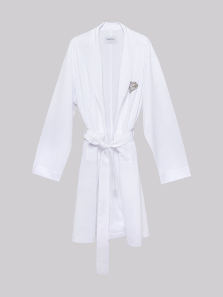 'Yours' White Mesh Robe