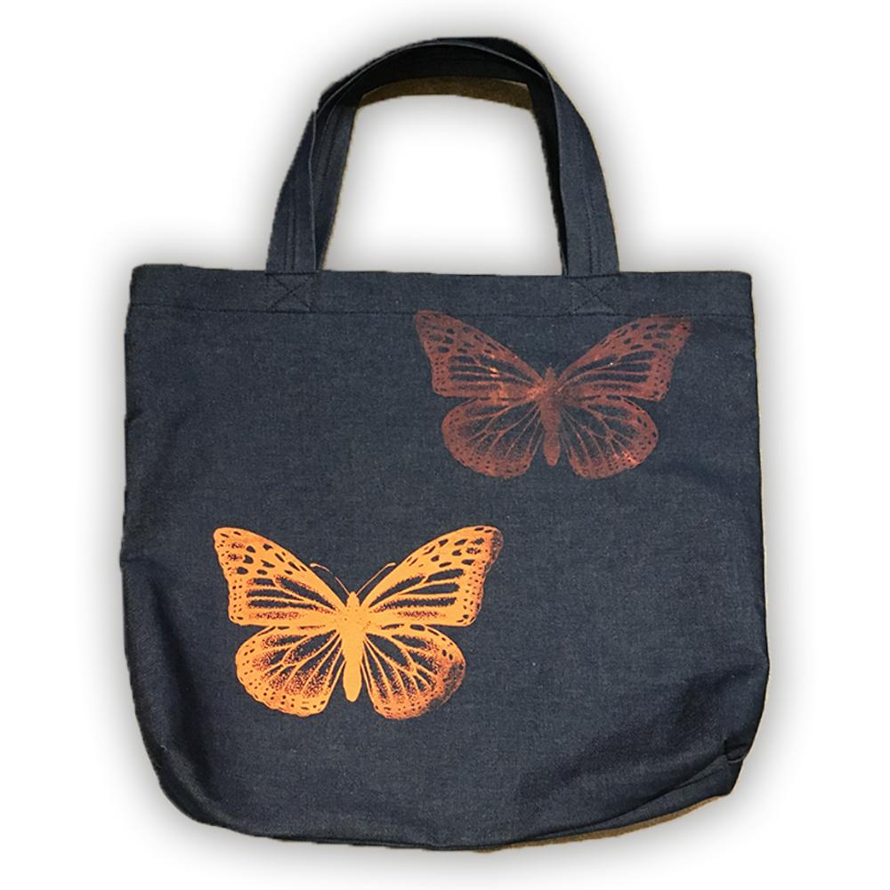 BUTTERFLIES LARGE DENIM TOTE-TOTEM SALVAGED-Kitson LA