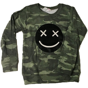 CAMO SMILE PATCH SWEATSHIRT-FLOWERS BY ZOE-Kitson LA