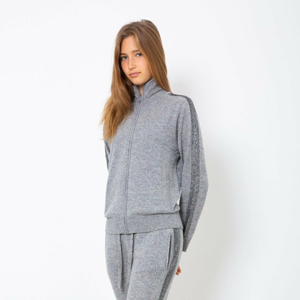CASHMERE TRACK JACKET W LUREX STRIPE-REPLICA LOS ANGELES-Kitson LA