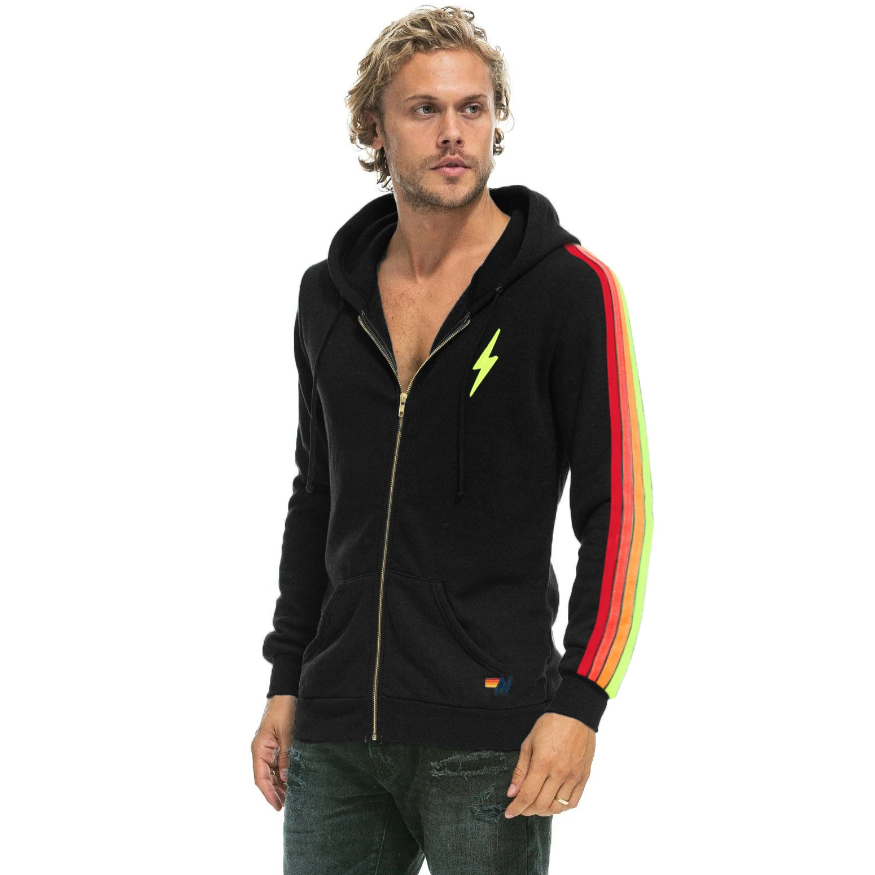 CLASSIC 4 STRIPE BOLT ZIP HOODIE-AVIATOR NATION-Kitson LA