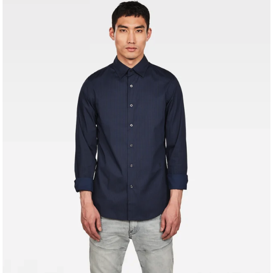 CORE SUPER SLIM SHIRT BLUE BLACK-G-STAR-Kitson LA