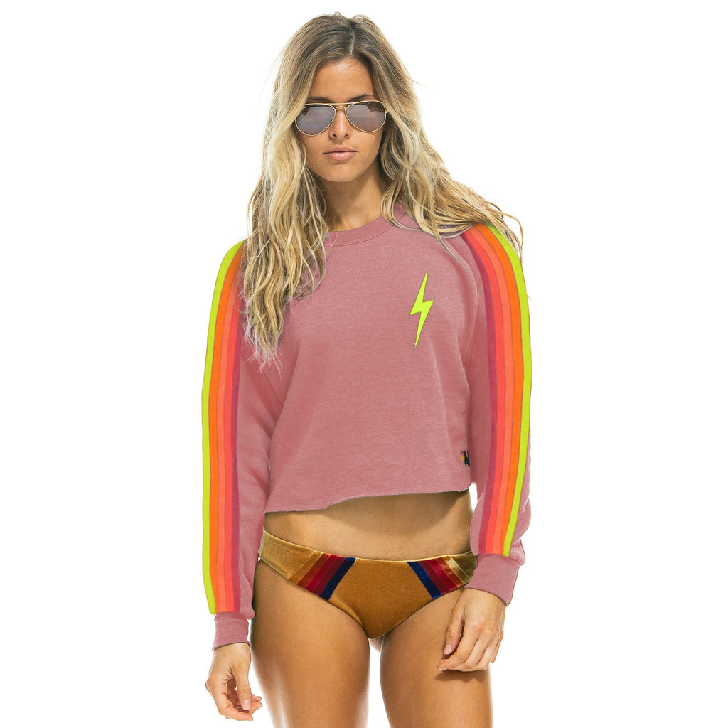 CROPPED CLASSIC BOLT CREW SWEATSHIRT-AVIATOR NATION-Kitson LA