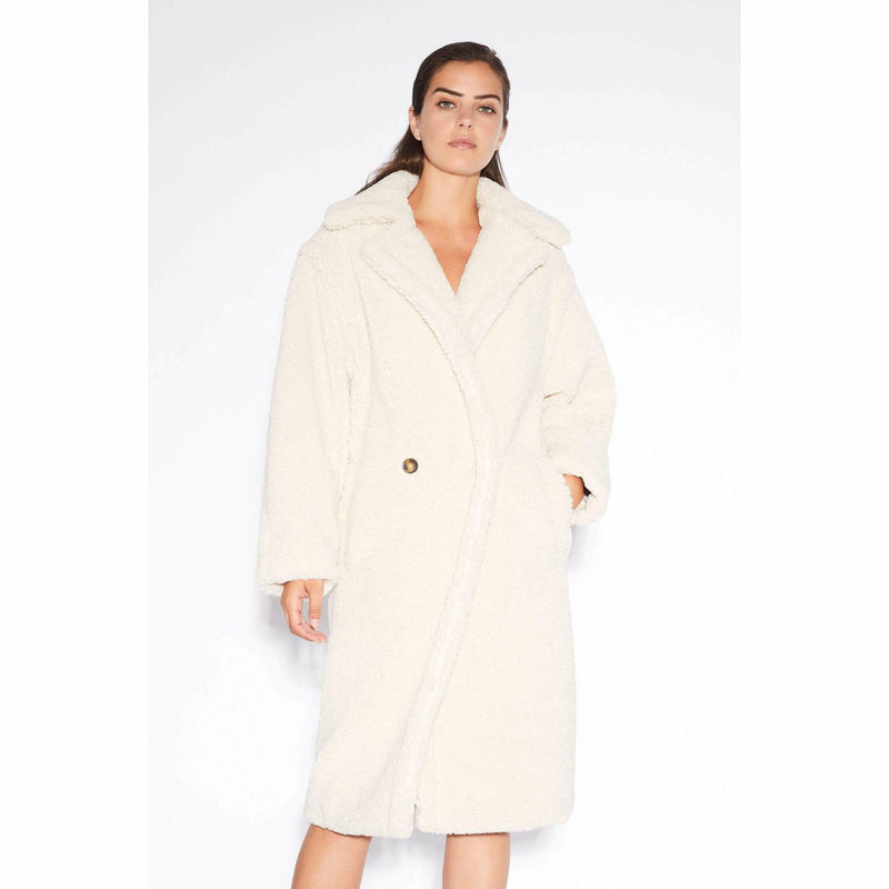 DARYNA FAUX SHEARLING DOUBLE BREASTED LONG COAT-APPARIS-Kitson LA
