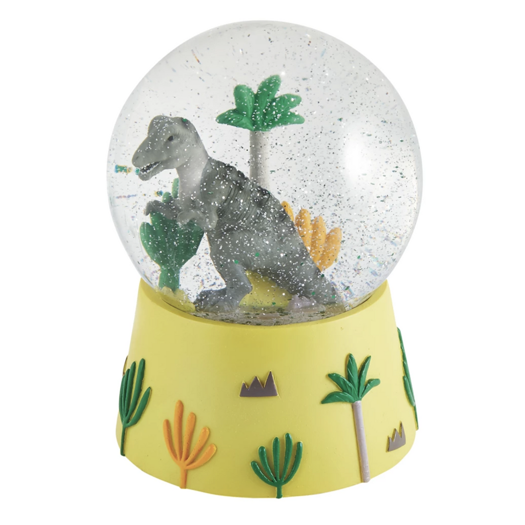 DINOSAUR MUSICAL SNOW GLOBE-FLOSS AND ROCK-Kitson LA