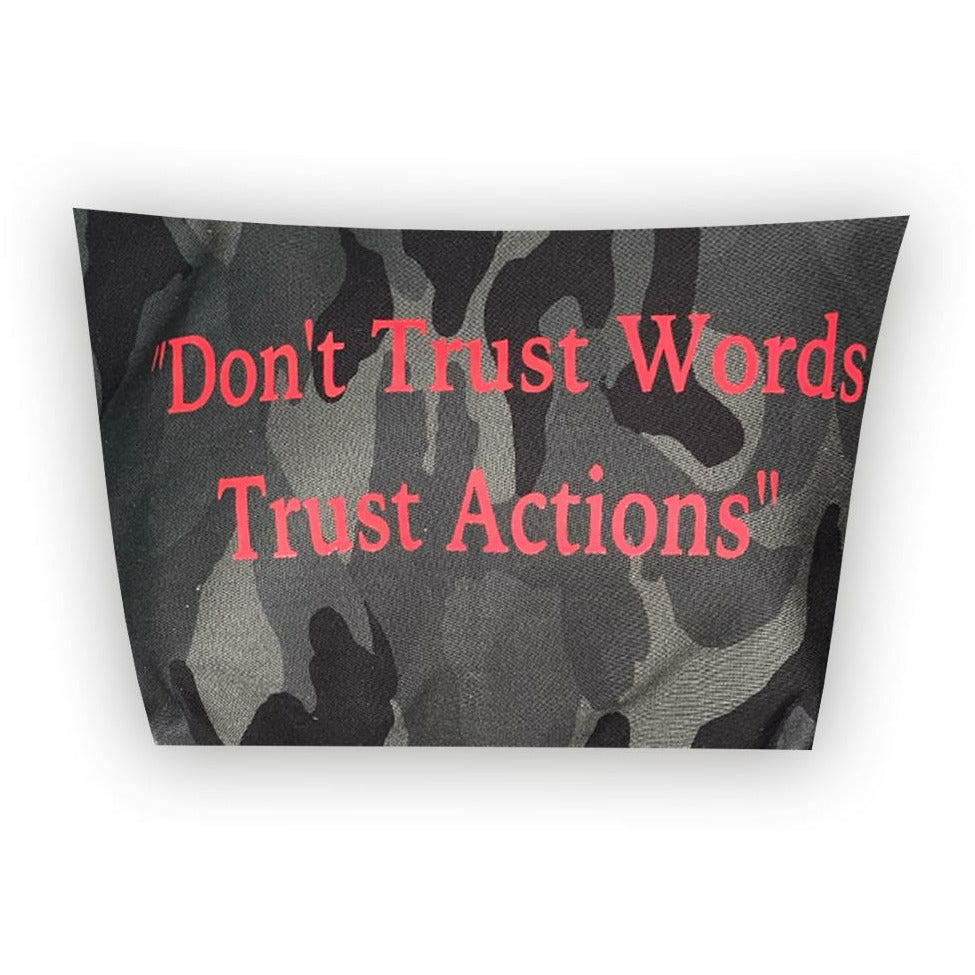 DON'T TRUST WORDS TRUST ACTIONS CAMO POUCH-TOTEM SALVAGED-Kitson LA