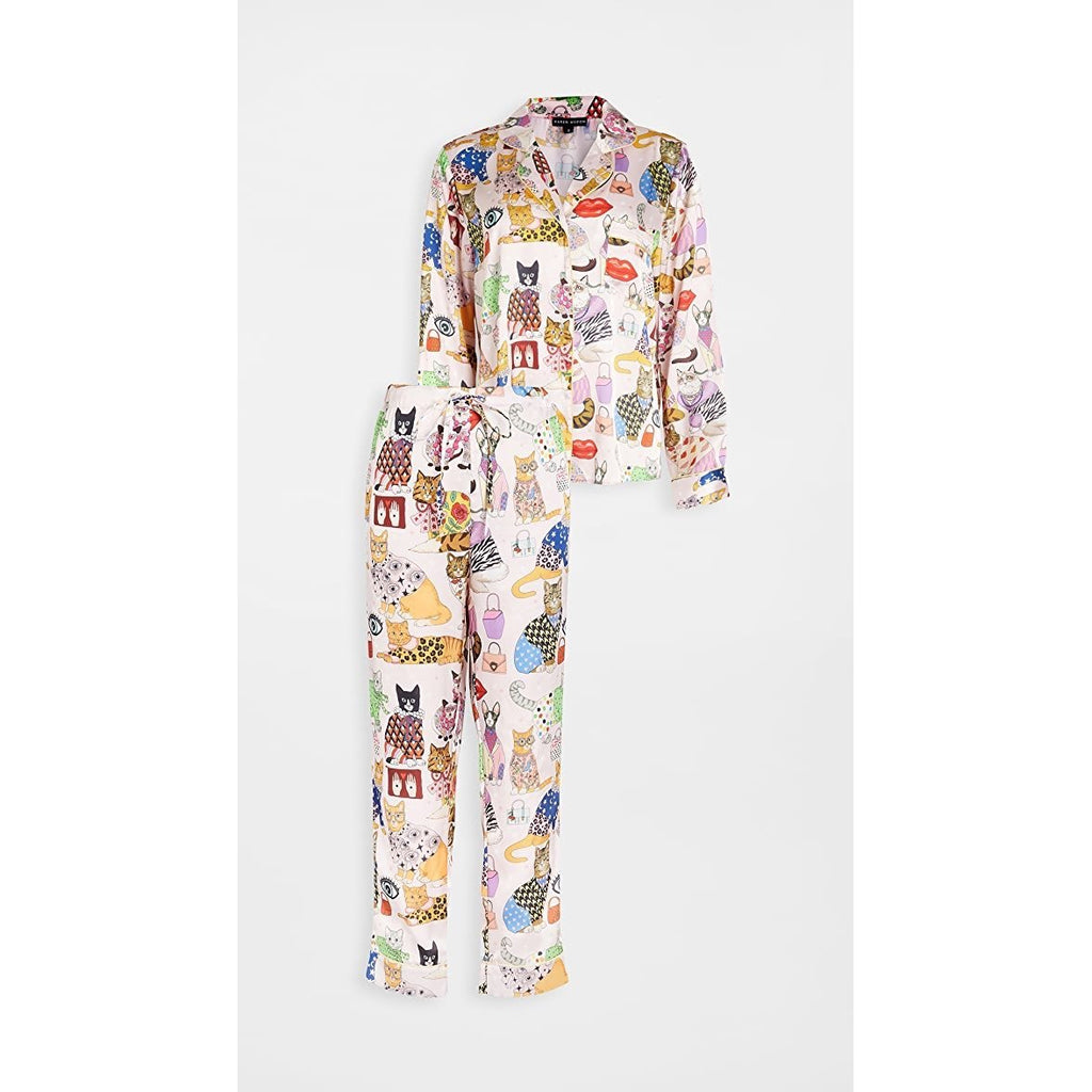 FASHION CATS SILK PAJAMAS-KAREN MABON-Kitson LA