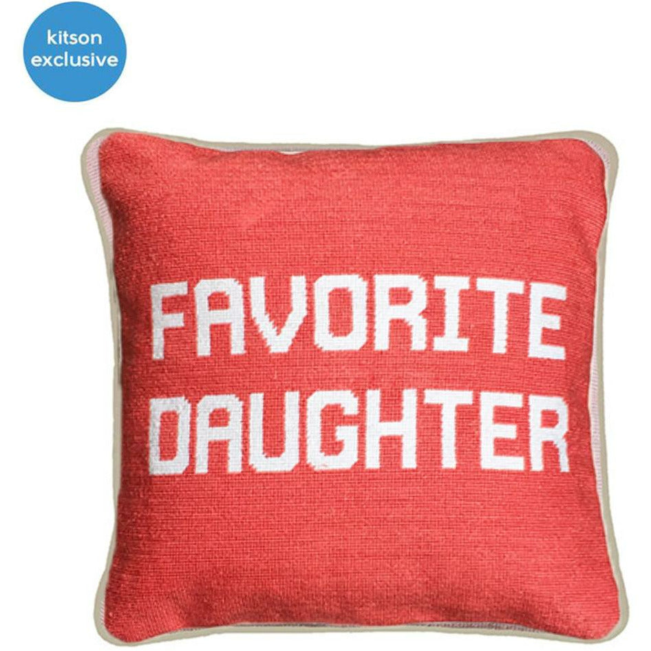 FAVORITE DAUGHTER NEEDLEPOINT PILLOW-SMATHERS & BRANSON-Kitson LA