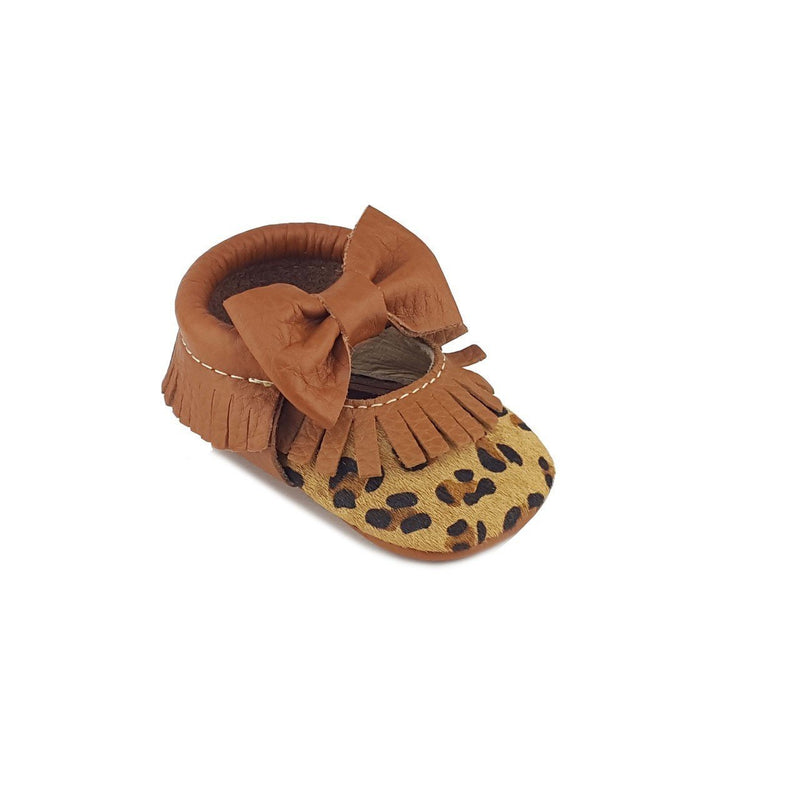 FIRST STEPS LEOPARD PRINT WITH BOW BABY MOCCASINS-FIRST STEPS-Kitson LA