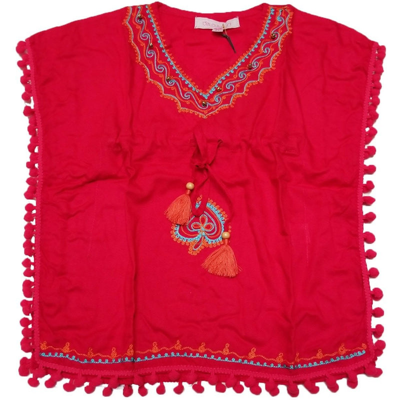 FUSCHIA ORANGE RAYON KAFTAN-BELA AND NUNI-Kitson LA