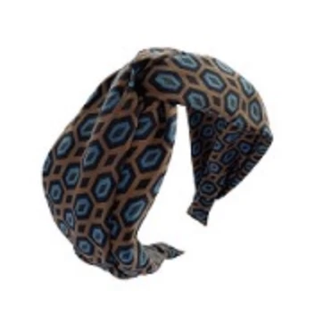 GEOMETRIC PRINT TWISTED HEADBAND-PIN & TUBE-Kitson LA