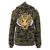 GIRLS CAMO GREEN EYED TIGER HOODIE-LOLA AND THE BOYS-Kitson LA