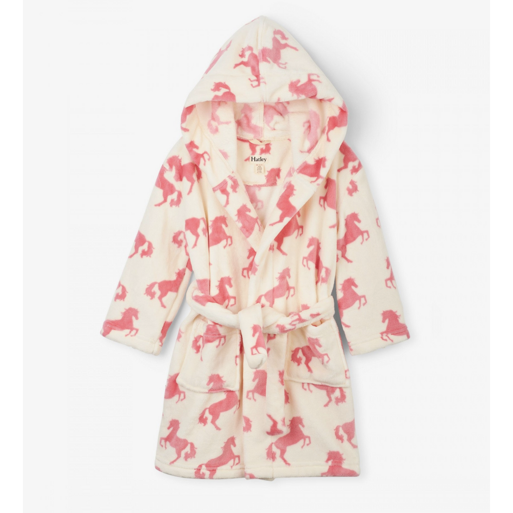 GIRLS PLAYFUL HORSES FLEECE ROBE-HATLEY-Kitson LA