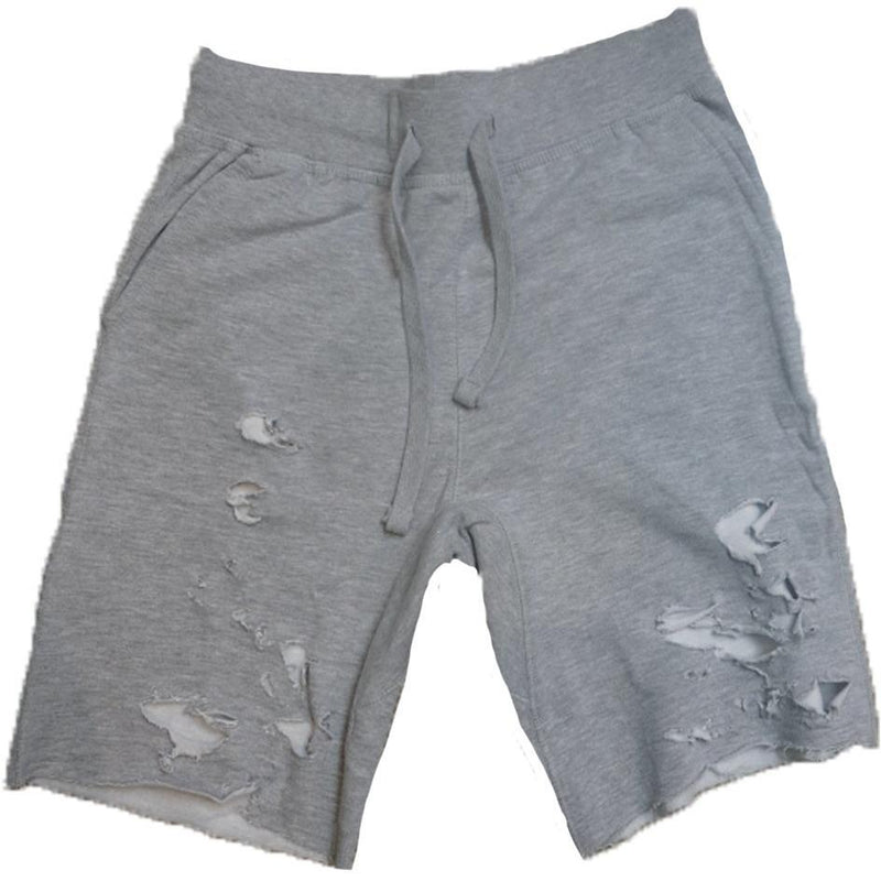 GREY DESTROYED SHORTS-PRODUCT OF PRIVILEGE-Kitson LA