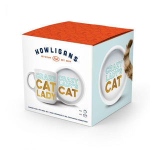 HOWLIGANS CRAZY CAT LADY MUG AND CAT BOWL-FRED AND FRIENDS-Kitson LA