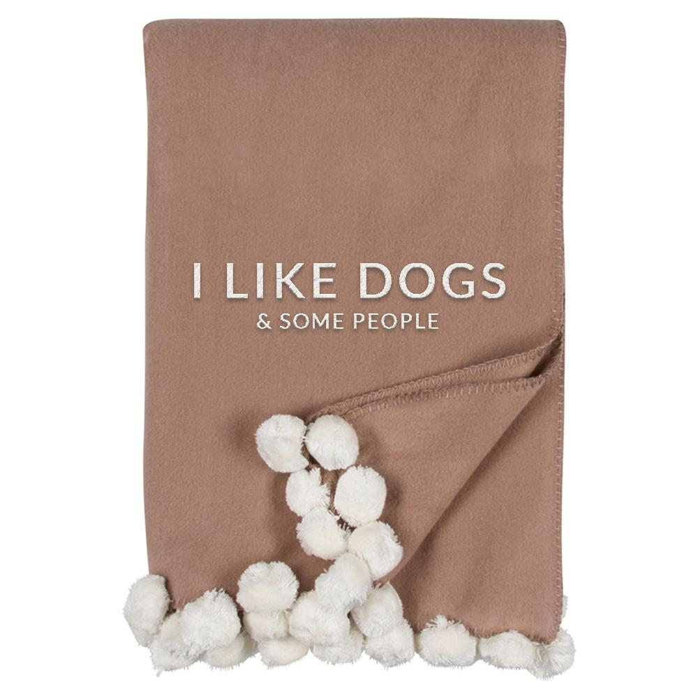 I LIKE DOGS LUXXE POM POM THROW-MALIBU LUXXE-Kitson LA