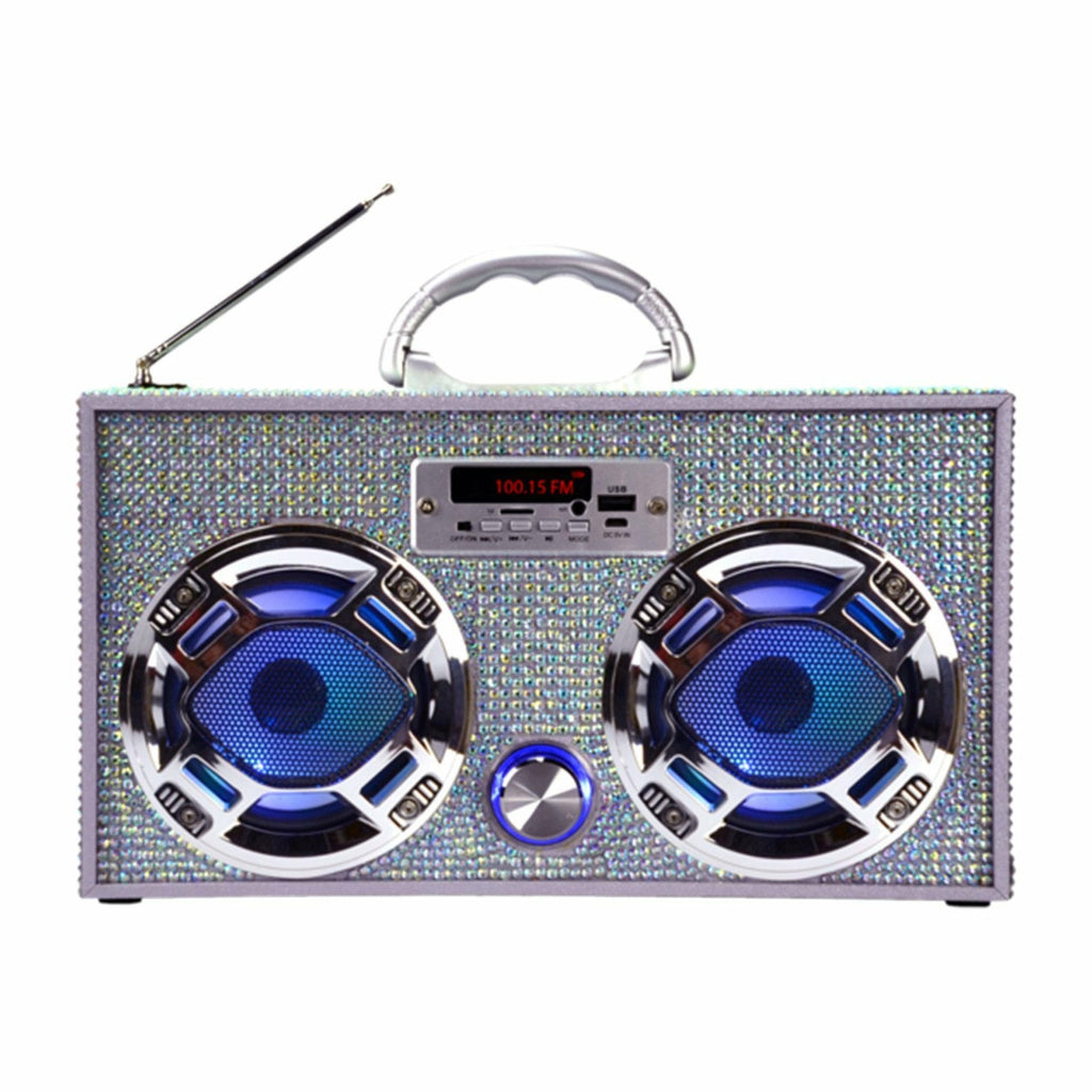 IRIDESCENT BLING BOOMBOX WITH LED SPEAKERS-WIRELESS EXPRESS-Kitson LA