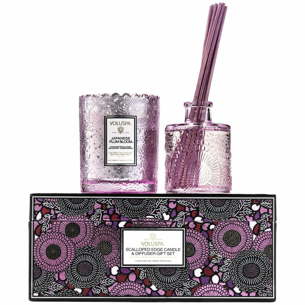 JAPANESE PLUM BLOOM CANDLE & DIFFUSER GIFT SET-VOLUSPA-Kitson LA